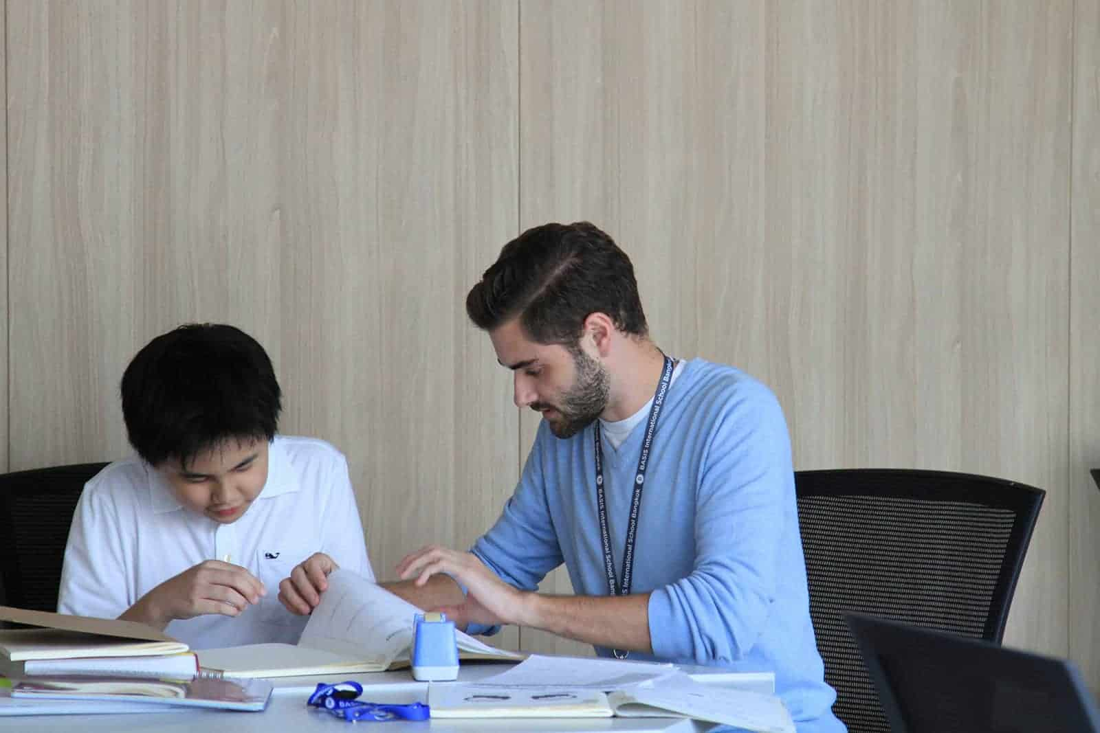 Teacher and Student Studying